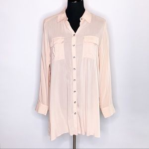Chico's light pink long sleeve button down tunic top size 0 or S